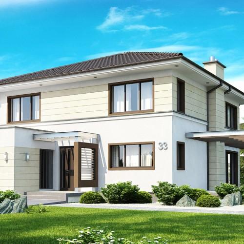 Проект двухэтажного дома с летней террасой и гаражом Zx33