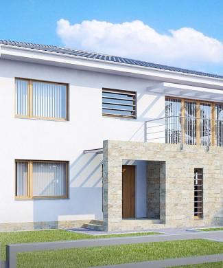 Проект загородного дома с гаражом и балконом