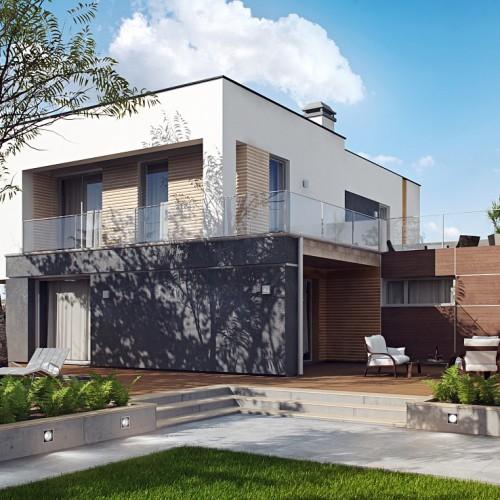 Проект дома в стиле хай-тек с гаражом и террасой в Минске