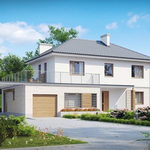 Проект загородного дома с гаражом и террасой в Минске