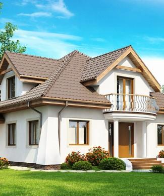 Проект мансардного дома с балконом и гаражом Z109