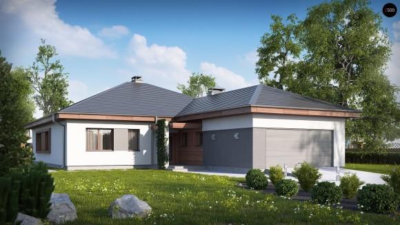 Проект одноэтажного дома с гаражом на две машины и большой гостиной
