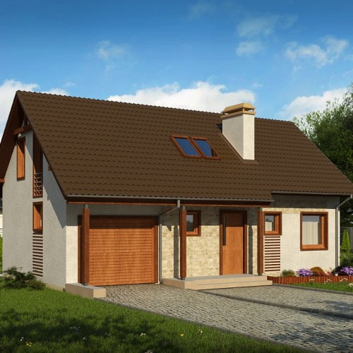 Проект небольшого дома с мансардой и гаражом Минск