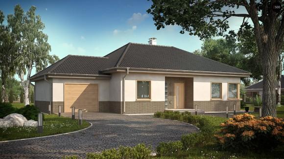 Проект одноэтажного коттеджа с тремя спальнями и гаражом