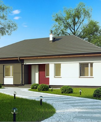 Типовой проект дома с четырехскатной крышей без гаража