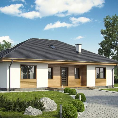 Проект одноэтажного дома с четырехскатной кровлей без гаража