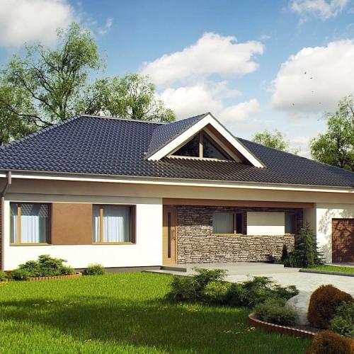 Проект одноэтажного дома с четырехскатной крышей из газосиликатных блоков