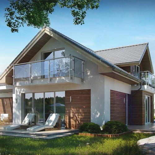 Проект дома с мансардой, балконами и гаражом из газосиликатных блоков