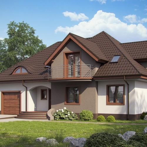Проект загородного особоняка с гаражом и балконами Z18 GL Bk