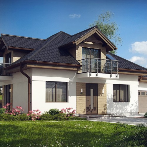 Проект большого дома с мансардой, балконами и гаражом в Минске
