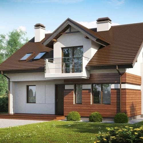 Проект дома с мансардным этажом и тремя балконами Беларусь