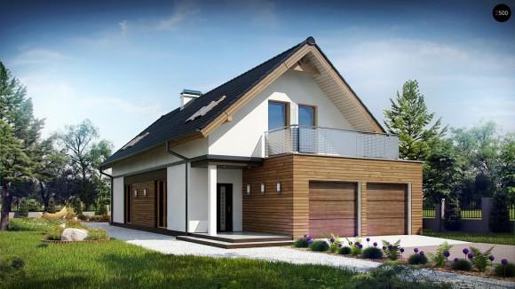 Проект дома с мансардой для узкого участка с гаражом на две машины в Минске Z294