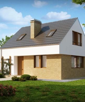 Проект небольшого одноэтажного дома с мансардой и террасой Z221