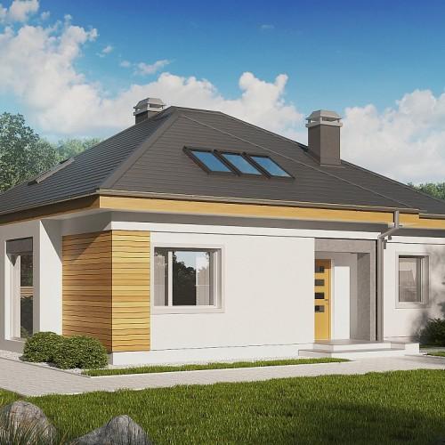 Проект дома с большой гостиной. 4 спальнями и мансардным этажом