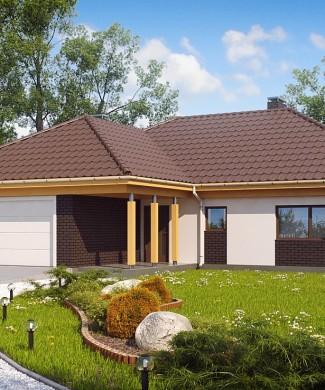 Готовый проект одноэтажного дома с гаражом в Минске Z144
