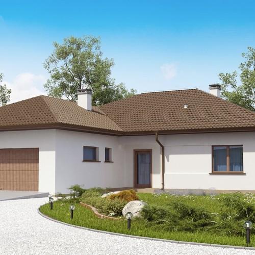 Проект одноэтажного дома с гарадом на две машины и мансардой в Минске Z311