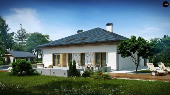 Проект одноэтажного дома с большой мансардой свободной планировки Z51
