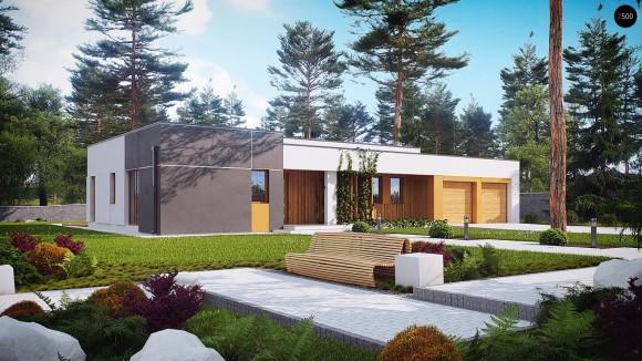 Проект одноэтажного дома с гаражом на две машины в стиле минимализм в Минске