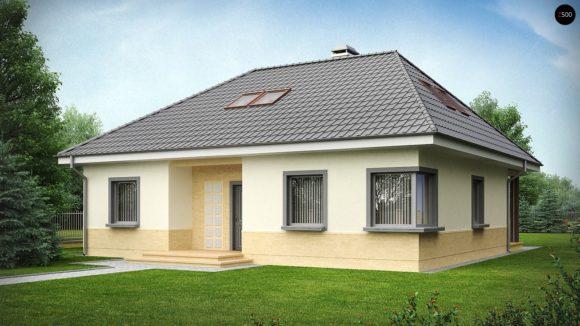 Проект одноэтажного дома с четырехскатной кровлей Z84