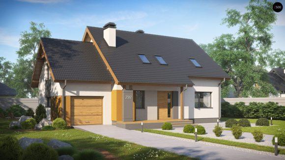 Проект мансардного дома с гаражом Z92 GL в Минске