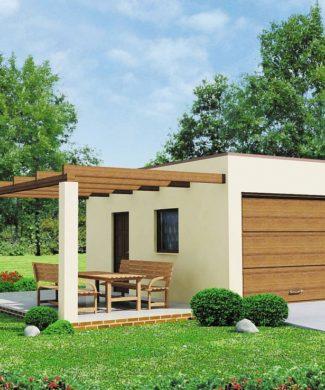 Проект гаража с террасой Zg13