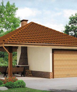 Проект гаража с барбекю Zg14