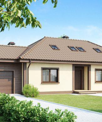 Проект мансардного дома с гаражом в Минске Z90
