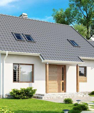Проект дома с гаражом, террасой и балконом Z108