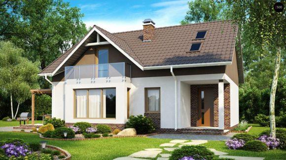 Проект каркасного дома с мансардным этажом Z128 DK