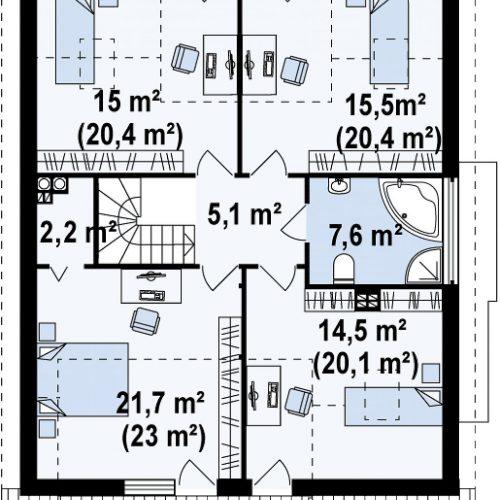 План второго этажа проекта Z116