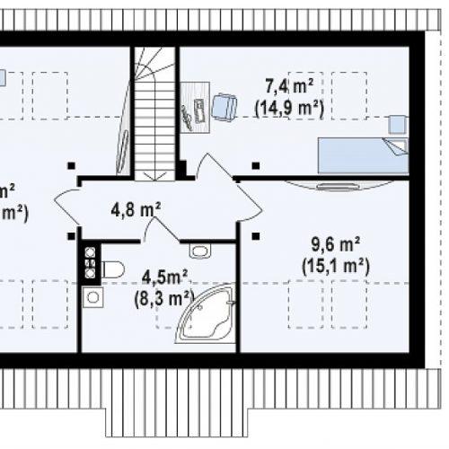 План второго этажа проекта Z12 P GP