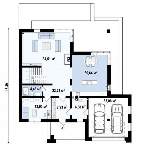 План первого этажа проекта Z156 A