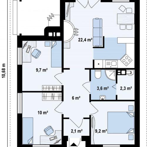 План первого этажа проекта Z16 dk