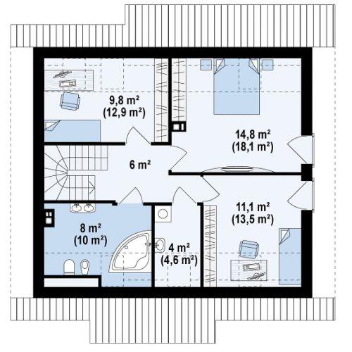 План второго этажа проекта Z162 v3