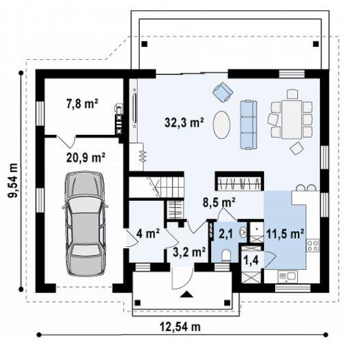 План первого этажа проекта Z164