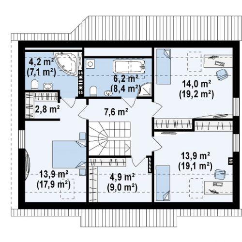 План второго этажа проекта Z164