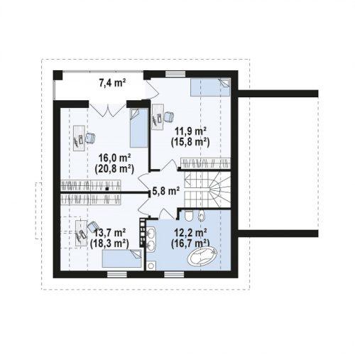 План второго этажа проекта Z166 GP