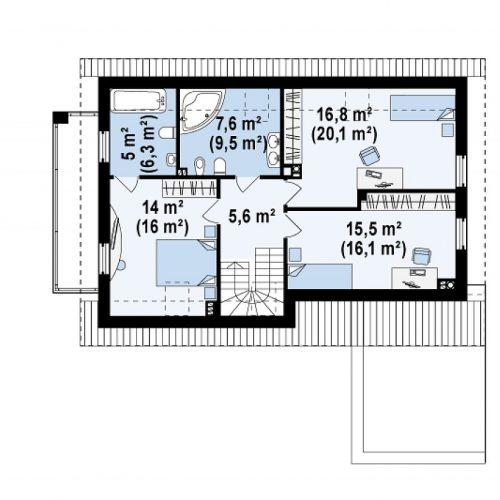 План второго этажа проекта Z168
