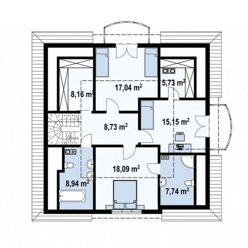 План второго этажа проекта Z18 dk