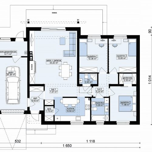 План первого этажа проекта Z182 GL P HB
