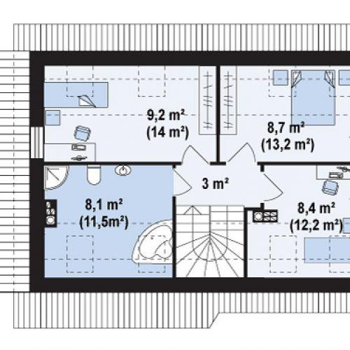 План второго этажа проекта Z216 +