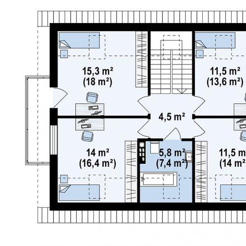 План второго этажа проекта Z255 B pc