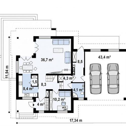 План первого этажа проекта Z284 GP2