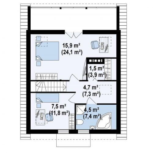 План второго этажа проекта Z30 L bl