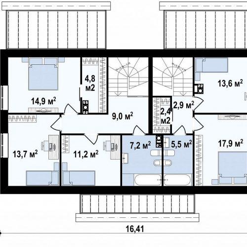 План второго этажа проекта Z351