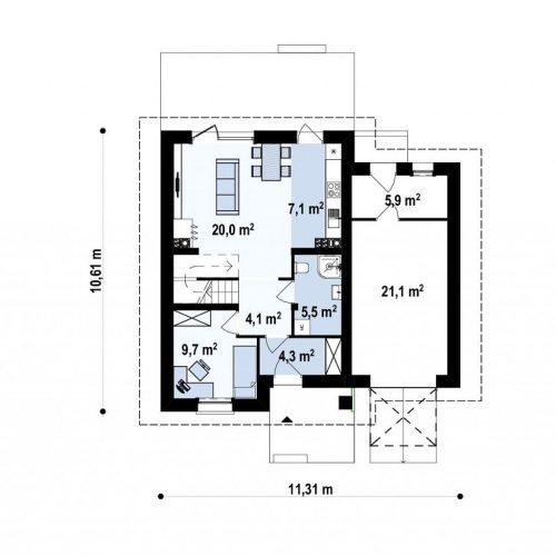 План первого этажа проекта Z38 D GP