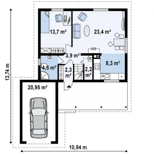 План первого этажа проекта Z39 B GF lk