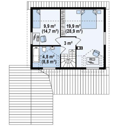 План второго этажа проекта Z39 B GF lk
