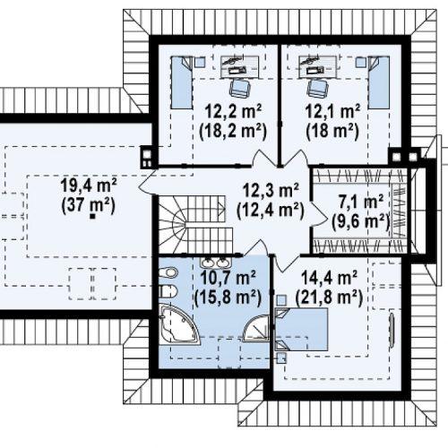 План второго этажа проекта Z48