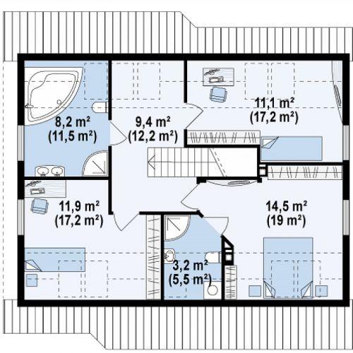 План второго этажа проекта Z66 D zp